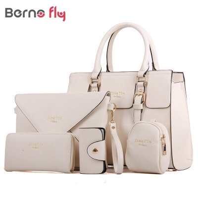 hot sale Women Bag brand 2017 new fashion european style women pu leather Female Bag 5 piece
