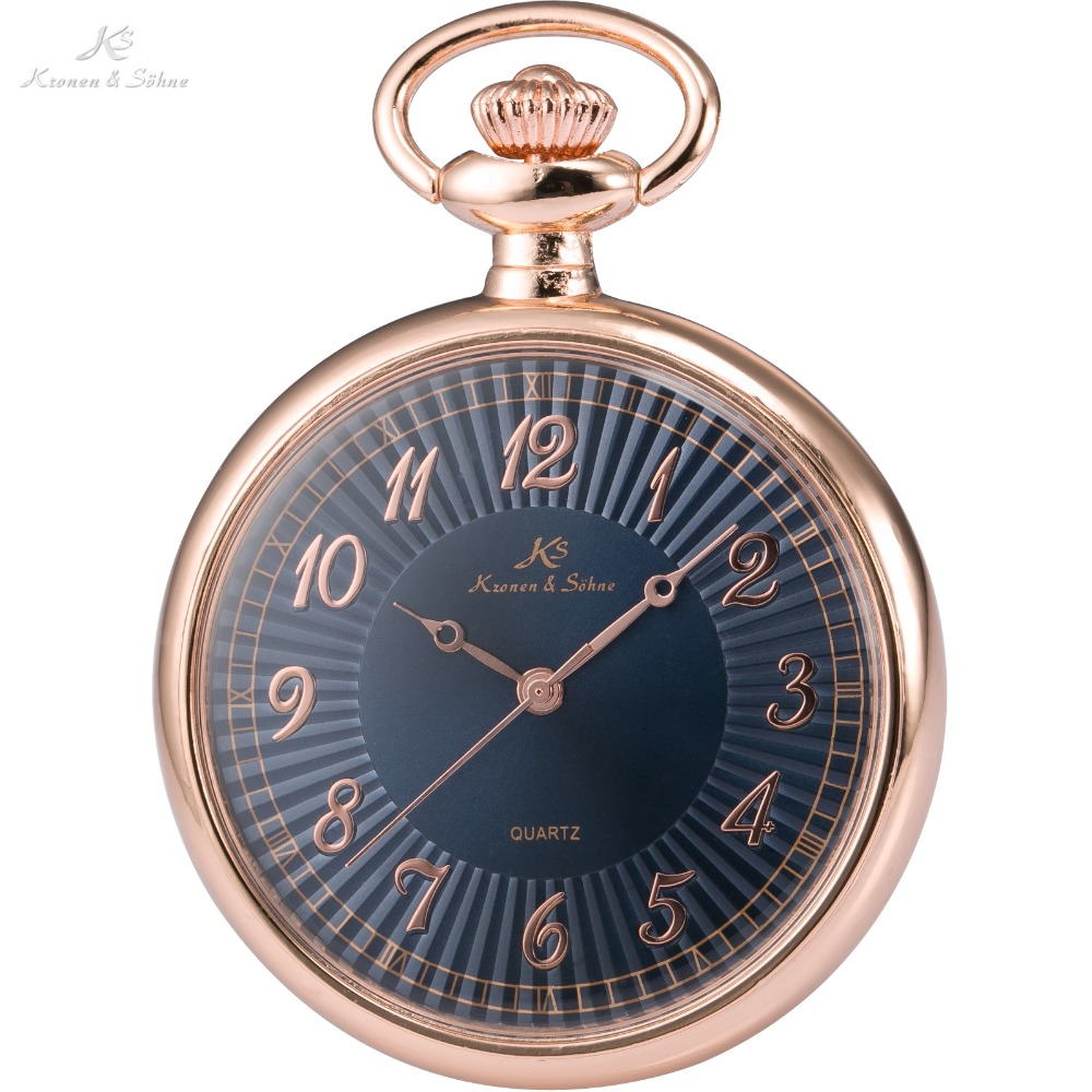 Mens pocket watches with chain images mens gold pocket watches gifts - Ks Luxury Brand Retro Rose Gold Stainless Steel Case Men Classic Quartz Watches Male Long Chain
