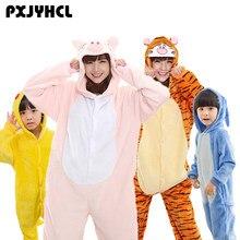 74e22a37b7 Adulto Bambino Delle Donne Anime Kigurumi Pigiama Animal Pink Pig Tigre Blu  Stitch Pikachu Costume Cosplay Tute monopezzo Per Le.