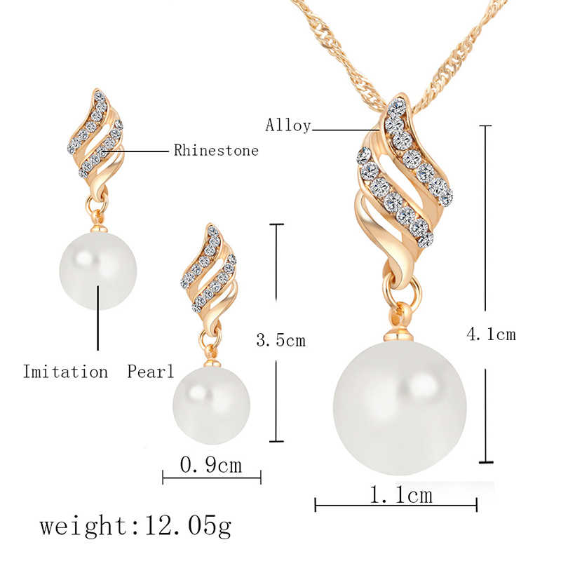New Arrival Fashion Women Necklace Earrings Jewelry Sets Silver Gold Link Crystal Simulated Pearl Wedding Party Clear Jewelry
