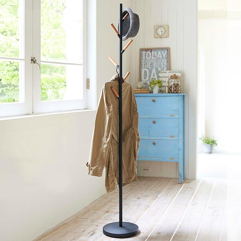 Iron coat rack floor bedroom clothes hanger European simple clothes rack simple iron and wood floor racks