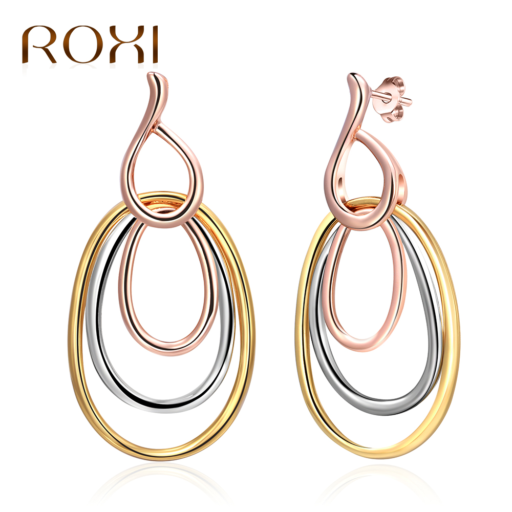 ROXI Big Oval Dangle Earring for Women Fashion Gold/Silver/Rose Gold Color Triple Circles Earrings Statement Jewelry pendientes