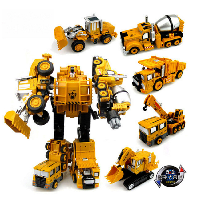 Engineering Transformation Robot Car Deformation Toy 2 in 1 Metal Alloy Construction Vehicle Truck Assembly Robot Kid Toys Gifts