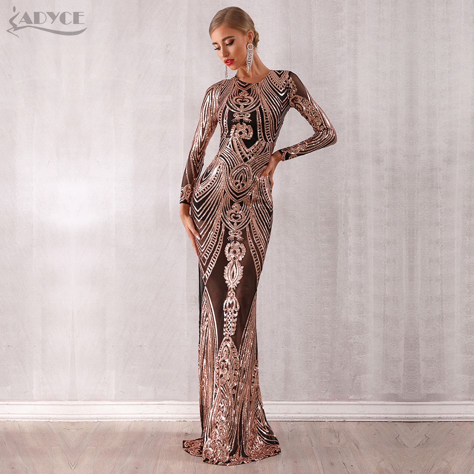Adyce 2020 New Arrival Sexy Women Elegant Celebrity Evening Party Dress Sexy Sequined Long Sleeve Mesh Runway Club Dress Vestido