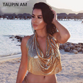 TAUPIN AM Women Tops Sexy Summer Style 2017 Camisoles Bra Top Backless Crop Top Fashion Gold Sequined Glitter Halter Camisole