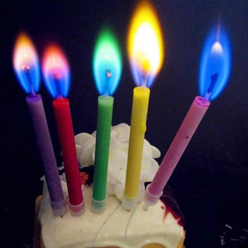 12 шт./кор. разноцветные свечи пламени красочные свадебные свечи для торта на день рождения украшения дома вечерние поставки FES7072 c