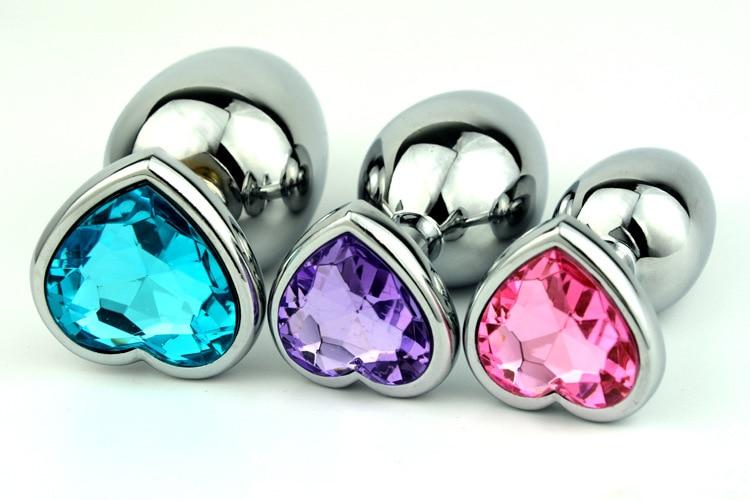 1Pcs Heart Shape Metal Anal Plug Anal Toys Jeweled Sex -6713