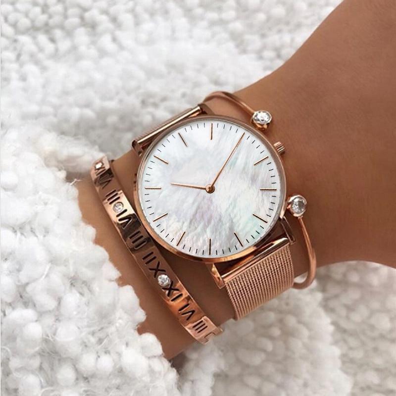 Mavis Hare Rose Gold Wristwatches Pink Seashell Pearl Women Watches