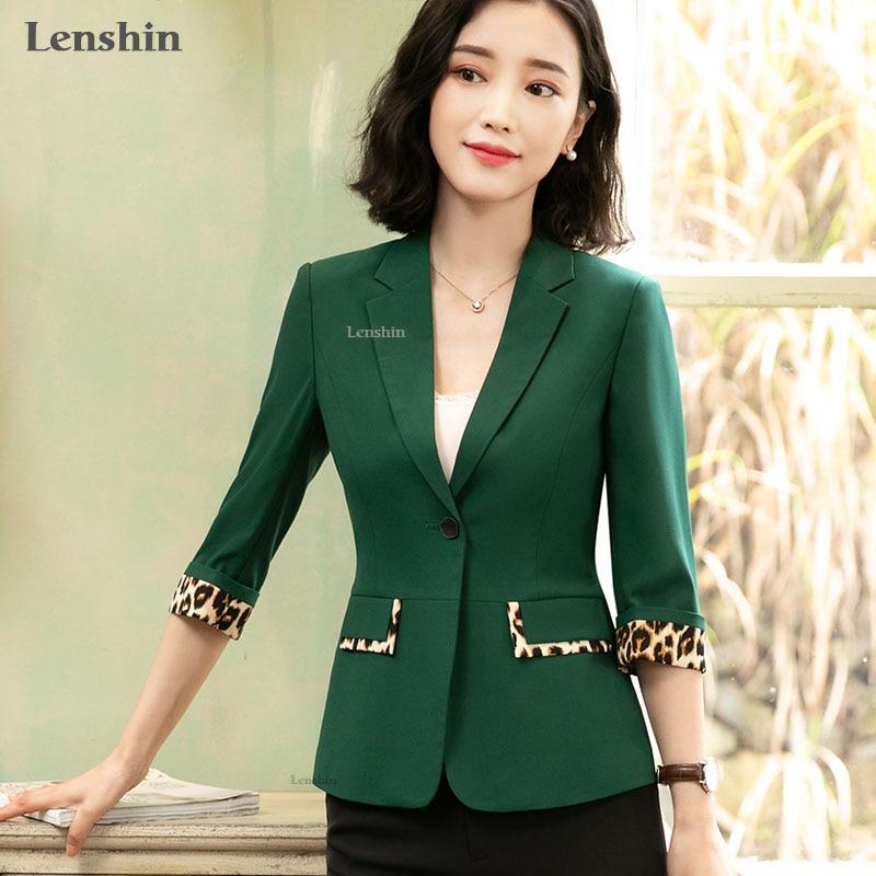 Lenshin Leopard Patchwork Jacket For Women Summer Wear Female Casual Style Coat Half Sleeve Blazer Single Button Tops Outwear