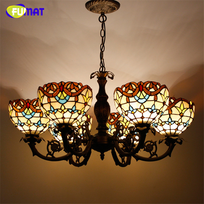 Tiffany Pendant Lamp European Retro Style Baroque Stained Glass Shade Restaurant Living Room Suspension Lamp Project Lights
