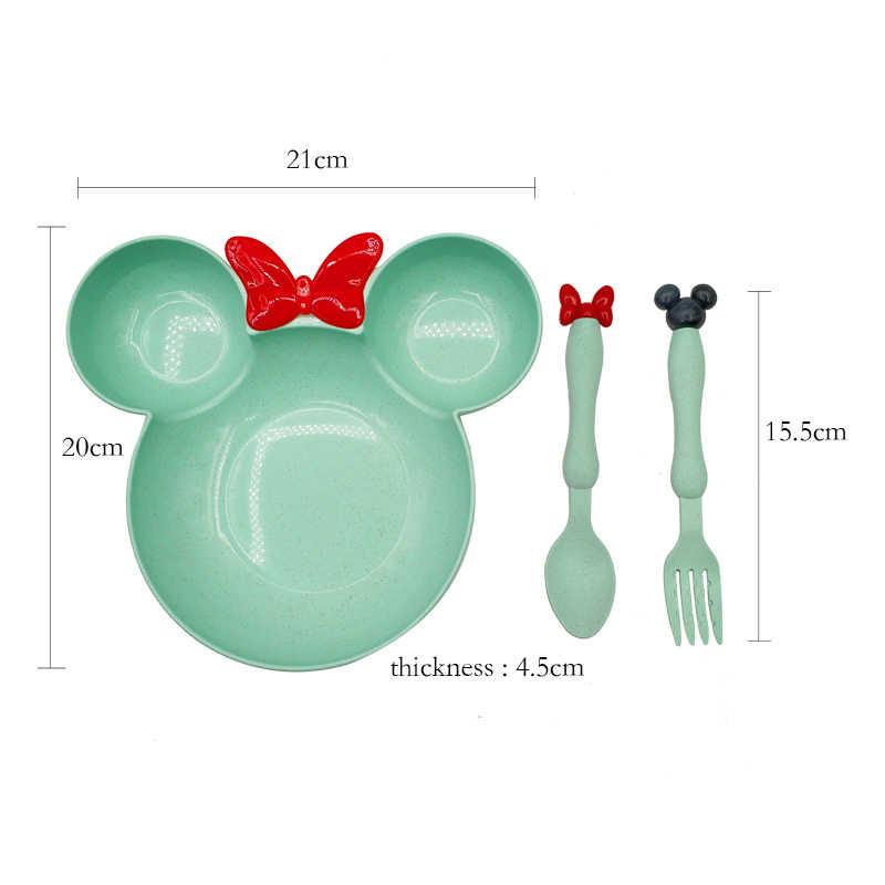3 pièces/ensemble bébé manger nourriture vaisselle vaisselle enfants dîner bol cuillère fourchette assiette de fruits Heath enfants formation vaisselle avec boîte