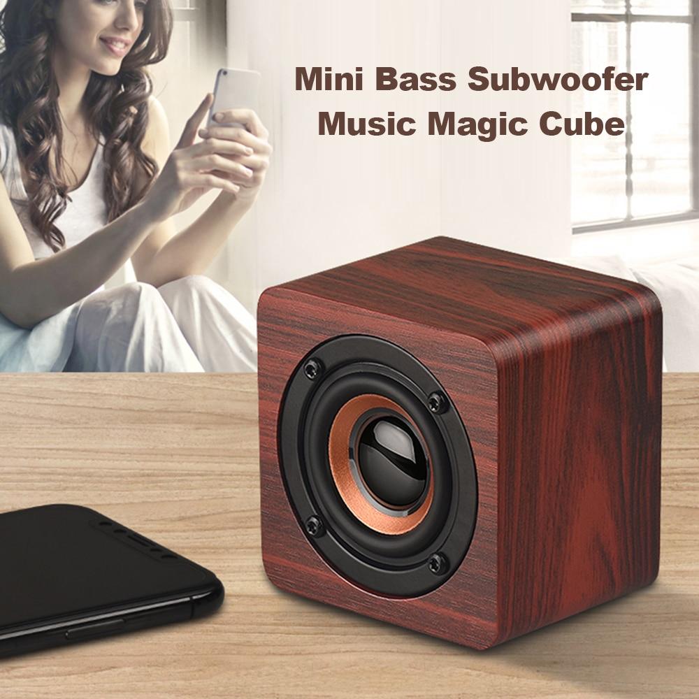 Wooden Bluetooth Speaker - Subwoofer Strong Bass Magic Cube 4