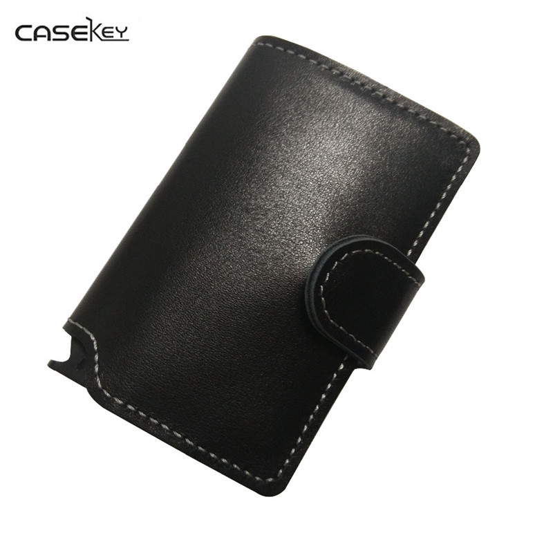CaseKey Men Prevents RFID Information Leakage PU Leather Mini Wallet Women Safe Multifunction Aluminum Purse Wallet Credit Card