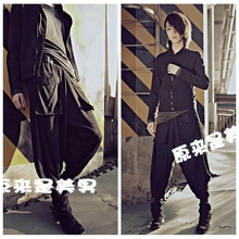 2018 New Real Elastic Waist Flat Spring, Summer, A Thin, Elastic Waist Loose Haroun Pants Men Leisure Of Height Turnip Beam