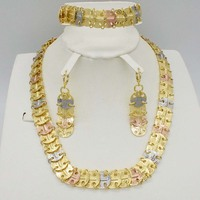 New High Quality Dubai gold Jewelry Set Nigerian Wedding African beads jewelry set for women statement necklace earrings set