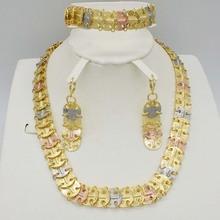 Nowy Wysokiej Jakości zestaw złotej biżuterii Dubaj Nigeryjczyk Afrykańskie koraliki biżuteria Ślubna zestaw dla kobiet oświadczenie naszyjnik zestaw kolczyków tanie tanio Moda Zestawy biżuterii Klasyczny Rocznica RJECADU Necklace Earrings Bracelet Miedzi Zestawy biżuterii dla nowożeńców