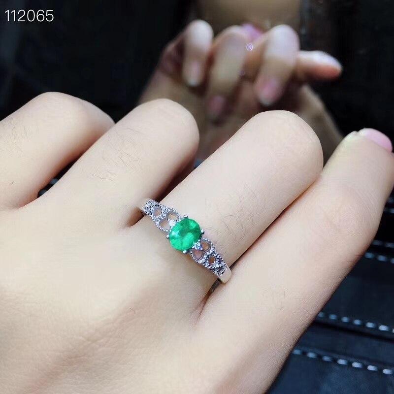 Oude Mooie Uitholling Key S925 zilver natuurlijke groene smaragd edelsteen ring Hanger natuurlijke edelsteen sieraden set vrouw party gift - 6