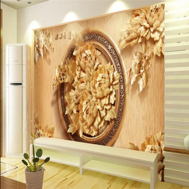 beibehang Custom large scale murals nostalgic 3D wood carving peony ...