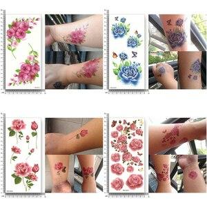 Image 4 - 16 листов водонепроницаемые Временные татуировки переводные Цветочные наклейки Красота Здоровье Декорации для тела, рук для женщин и девочек Сексуальный макияж