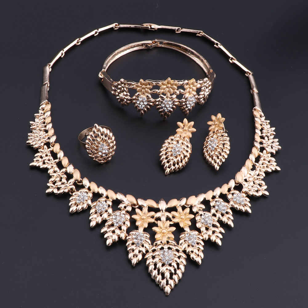OEOEOS Jewelry Sets Vintage Turkish Women African Beads Jewelry Set Dubai Indian Wedding Jewelry Sets Gold Color Jewellery Set