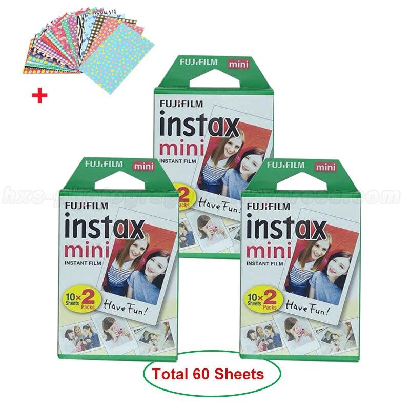 Véritable Fujifilm Instax Mini 9 Film Fuji blanc papier Photo 60 feuilles pour Mini 9 8 50 s 7 7 s 90 25 partager SP-1 SP-2 appareils Photo instantanés