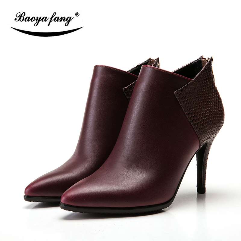 BaoYaFang New font b Womens b font Winter Boots ankle boots woman thin heels pointed toe
