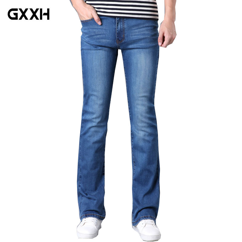 2018 Spring and Autumn New Mens Micro-trumpet Blue jeans Slim Stretch Korean tide jeans Size 26-30 31 32 33 34