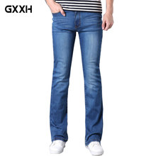 2018 Spring and Autumn New Men's Micro-trumpet Blue jeans Slim Stretch Korean tide jeans Size 26-30 31 32 33 34