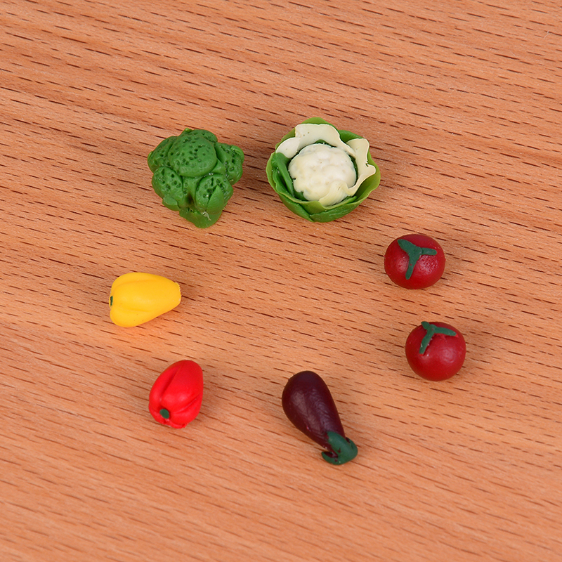 7Pcs//set Dollhouse toy model miniature food play mini pocket vegetables IJUS