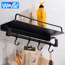 Bathroom Shelf Corner Organizer Black Space Aluminum Bathroom Shelves Shower Storage Rack with Hooks Wall Mounted Shampoo Shelf free shipping ciencia triangle black corner caddy bathroom shelf with hooks wall mounted kitchen storage with nail free glue