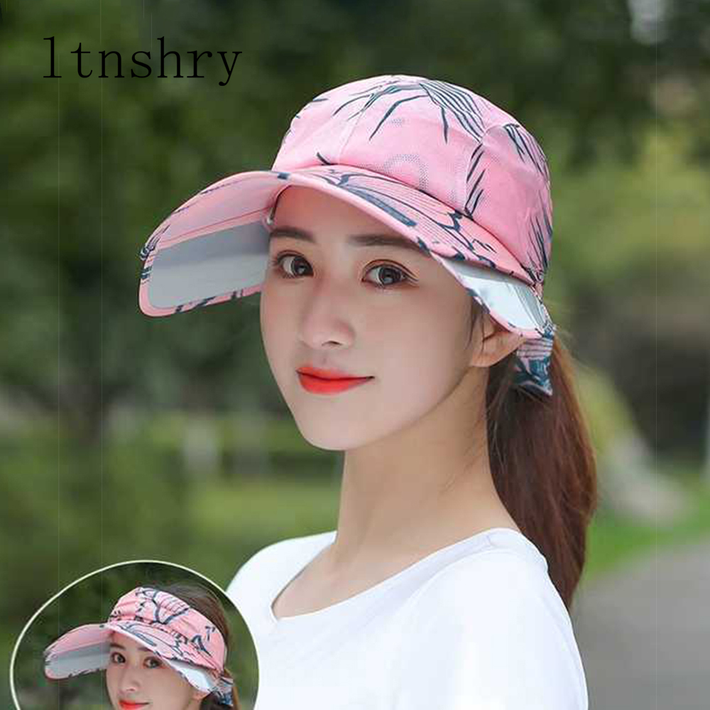 Summer Hat For Women Sun hat Sunscreen Style Beach Hats Breathable Female Outdoor Anti-UV Retractable Visor Ladies Multipurpose