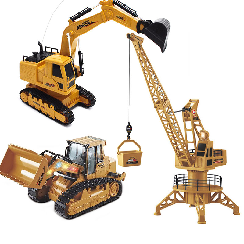 2 4GHz Electric RC Truck Crawler Excavator Bulldozer Crane Engineering Vehicles Model Remote Control Car Boys