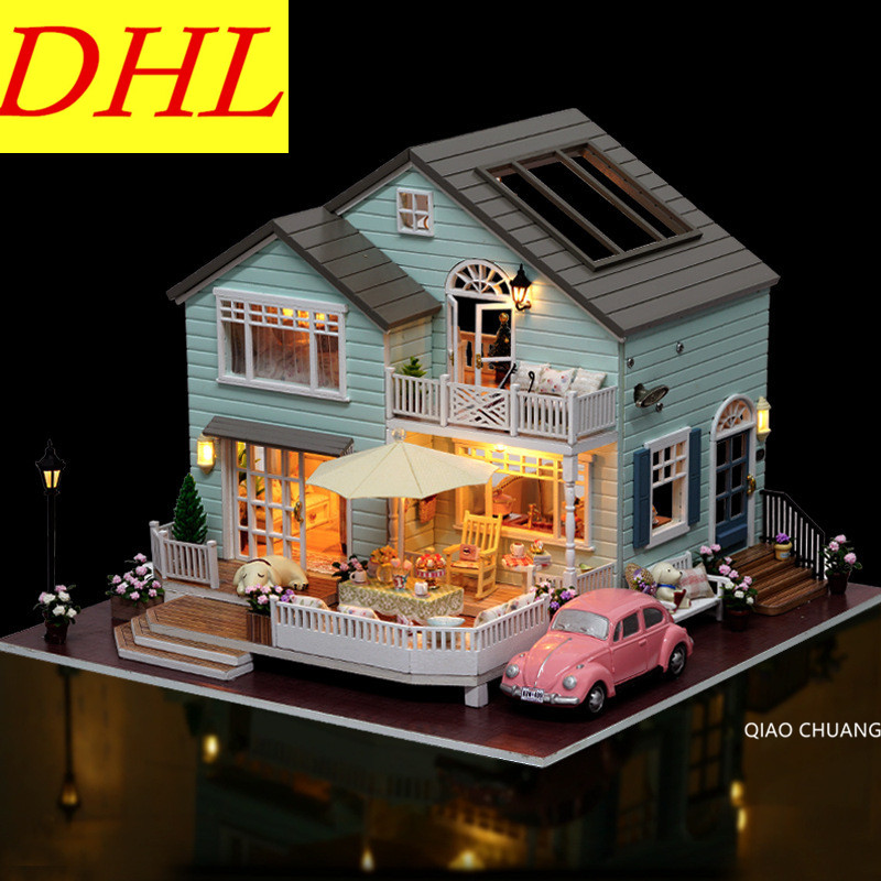 Diy Production Refinement Wood House Music With LED Light Educational House And Home Furnishings Creative Birthday Gift L486 refinement carousel music box house and