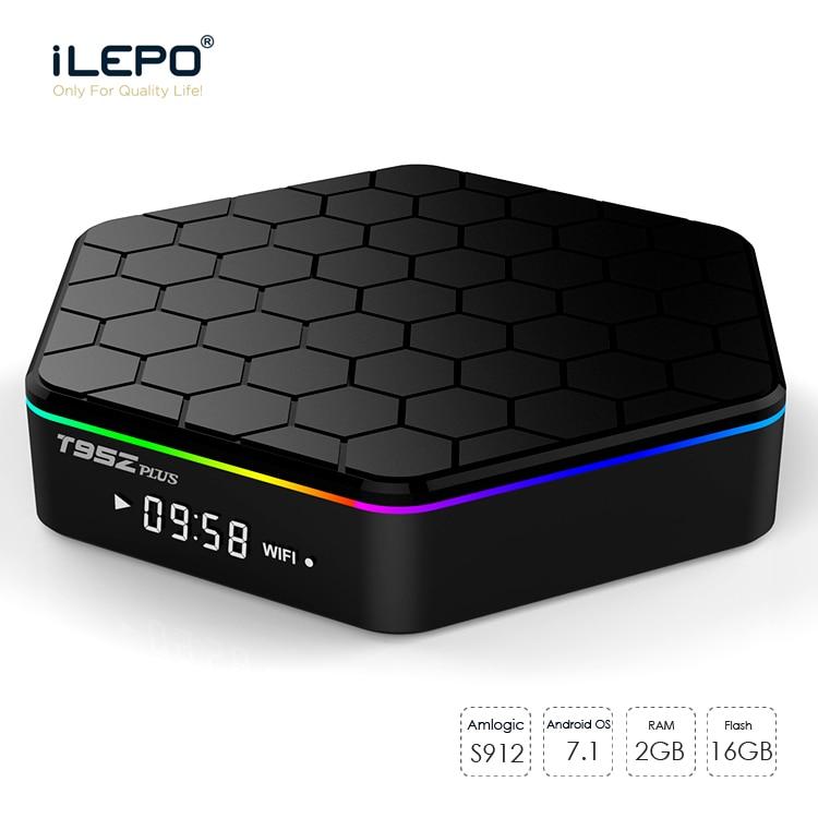 iLEPO T95Z Plus Android 7.1 TV Box Amlogic S912 Quad Core 2G 16G Support 4K H.265 2.4+5GHz WiFi 1000M LAN KD17.1 IPTV Smart