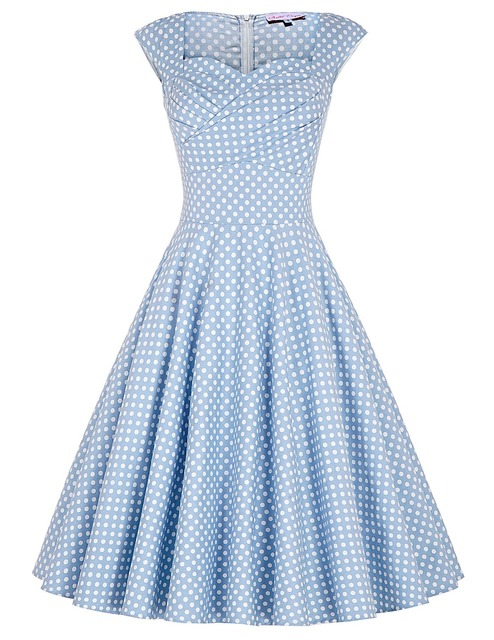 Womens Summer dresses 2016 Summer style Casual Party Dress Vestidos Robe Vintage 50s Retro Polka Dot Print Plus Size clothing