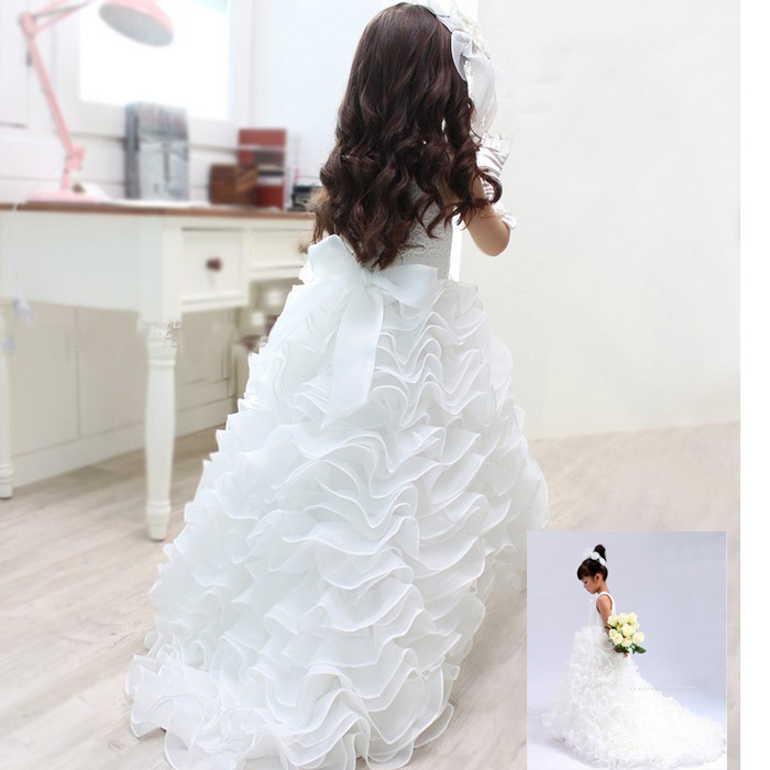 White princess children   flower     girl     dresses   for weddings vestido daminha casamento Kid Party pageant   dresses   for   girls   glitz