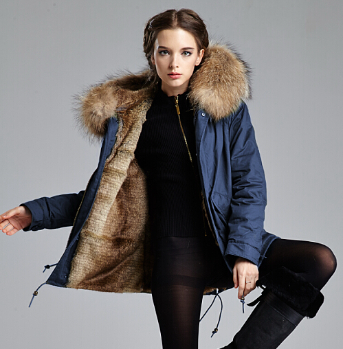 Navy Parka With Faux Fur Lined And Big Raccoon Fur Collar In S-4XL For Women And Men Winter Coat