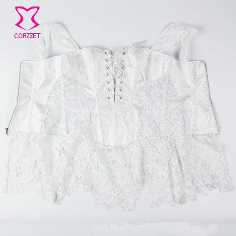 ... XS-6XL White Brocade Hollow Out Lace Victorian Gothic Dresses Sexy  Short Corset Dress Plus ... d28ed98296f5