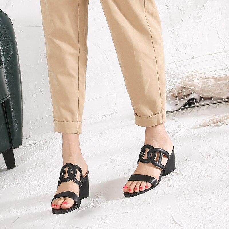 ارتفاع كعب النعال حذاء امرأة جلد - أحذية المرأة