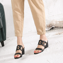 High Heel Slipper Schuhe Frau Echtes Leder Weibliche Schuhe 2018 Sommer Neue Ankunft Starke Ferse Mode Aushöhlen Dame Marke Schuh