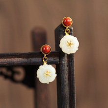 S925 silver natural hetian jade south onyx pea flower spray gold earrings lady temperament national wind character silver product s925 pure silver jewelry fashion earrings wholesale handmade lady hetian jade earrings