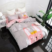 Papa&Mima Cartoon style Rabbit Applique Embroidery bedding set Twin Queen size Cotton duvet cover flatsheet pillowcase sets