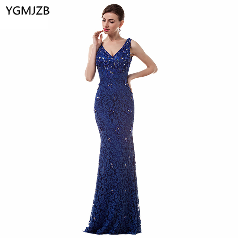 Royal Blue Long Evening Dresses 2018 Mermaid V Neck Cap Sleeve Beaded Lace Prom Dress African Women Formal Prom Evening Gown