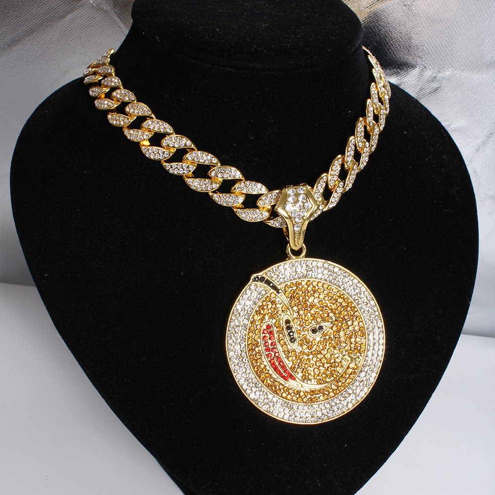 "Hip Hop Big Round Jigsaw Thunder Cat Pendant With 15mm 18"" Full Iced Out Miami Cuban Choker Chain Men Necklace Jewelry Gift"