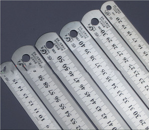Image 1 - Steel ruler thicker  Drafting Supplies hardware tools ruler double faced for office and school kawaii