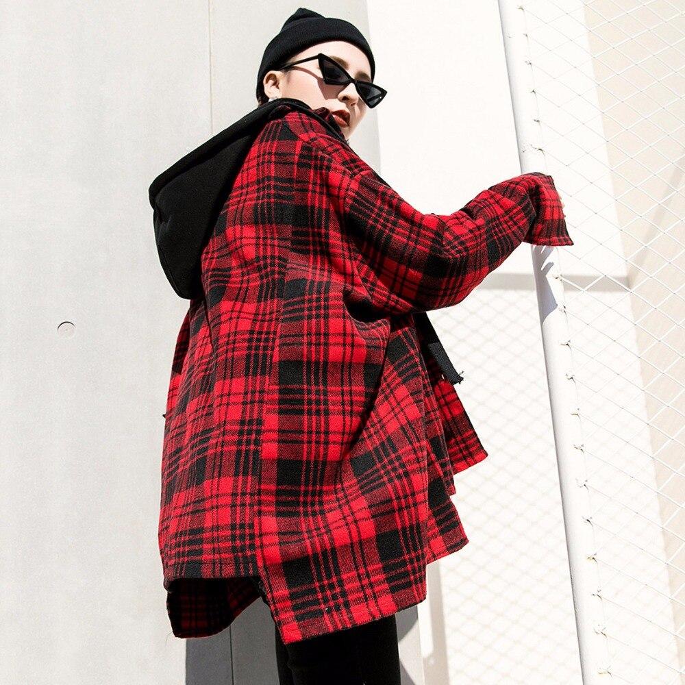 c8074b5fca48be Kopen Goedkoop TREND Setter 2018 Lente Mode Rode Plaid Jas Vrouwen Wol  Casual High Street Herfst BF Stijl Jas Hooded voor jong Meisje Prijs