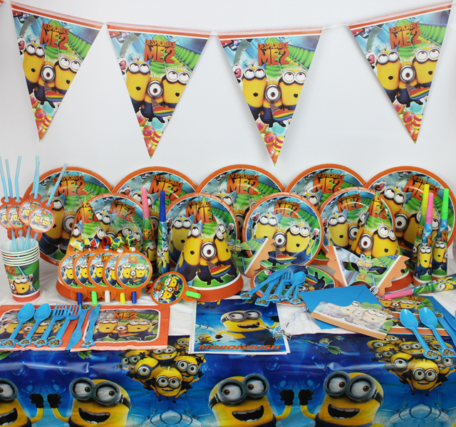 New 78pcs Kids Birthday Decoration Set Despicable Me Movie Party Supplies Baby Pack Evnent Favors