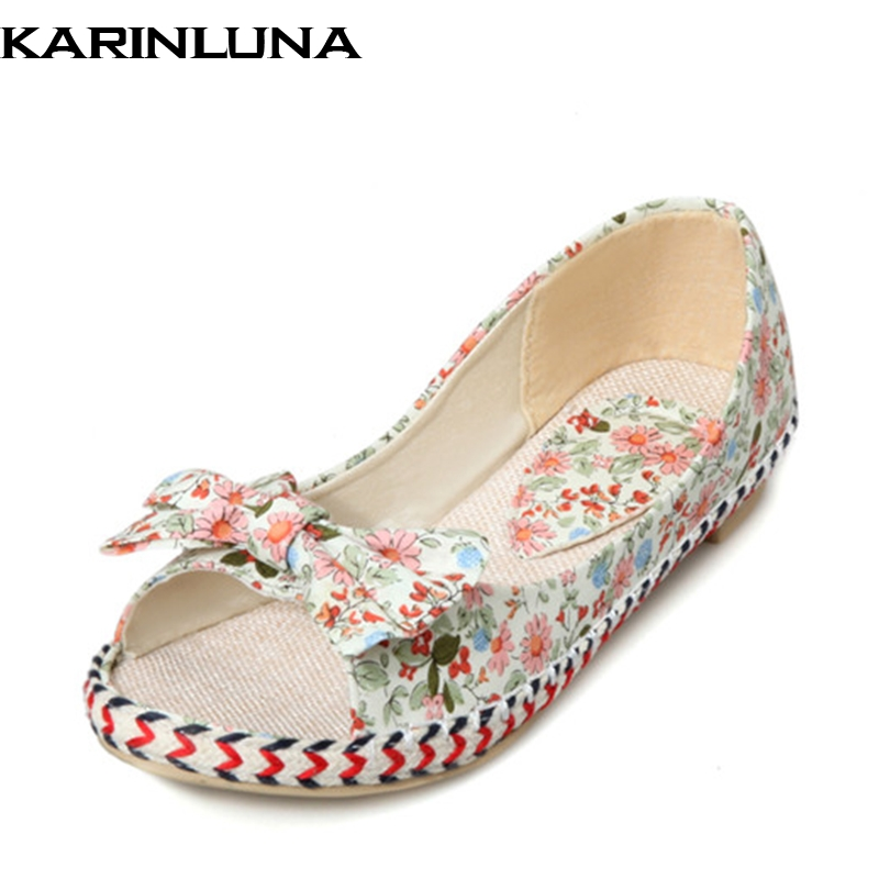 KARINLUNA Summer Bow Print Large Size 33-43 Colorful Woman Flats Fashion Sweet Shallow Women Shoes For Leisure