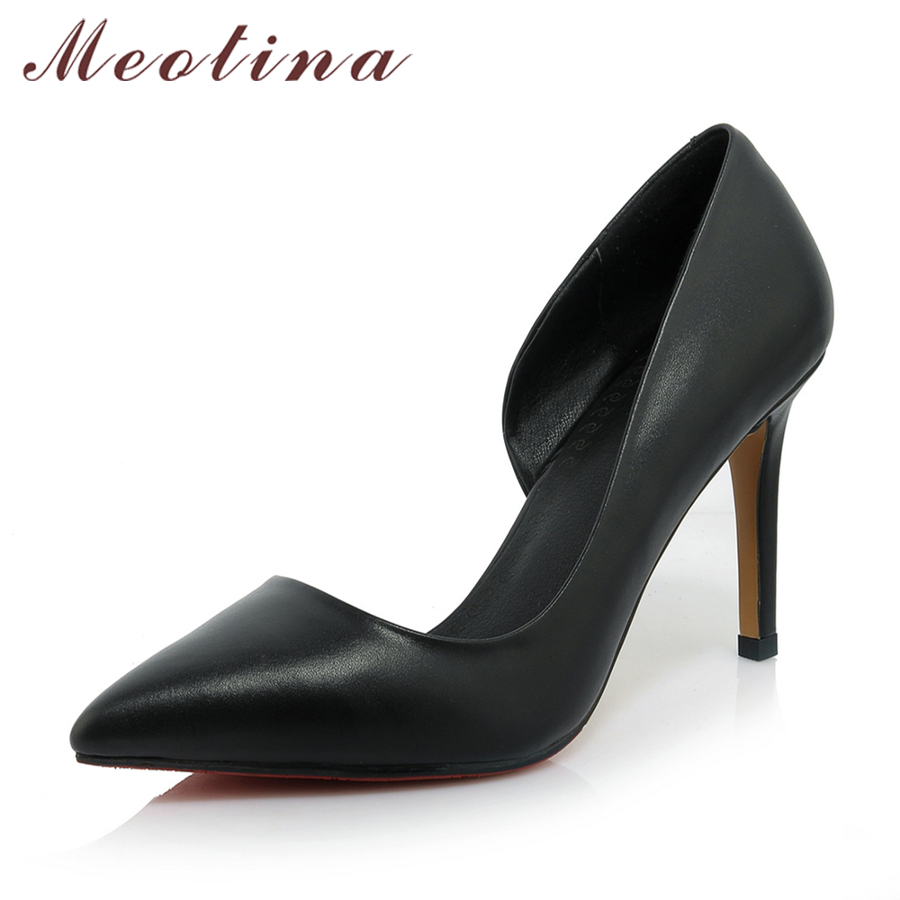Meotina Women Shoes Genuine Leather High Heels Pointed Toe High Heels Ladies Dress Pumps Cutout Fashion Work Shoes White Black meotina high heels shoes women pumps party shoes fashion thick high heels pointed toe flock ladies shoes gray plus size 10 40 43