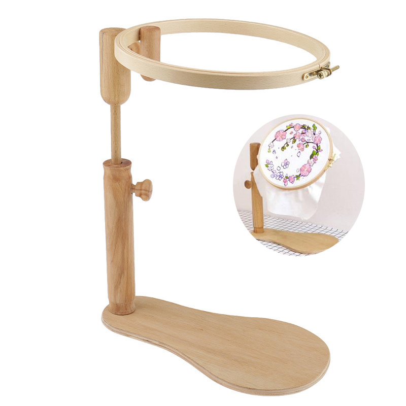 New 24cm Embroidery Stand Hoop Wood Cross Stitch Hoop Set Adjustable Desktop Embroidery Hoop Ring Frame DIY Sewing Tool For Mom